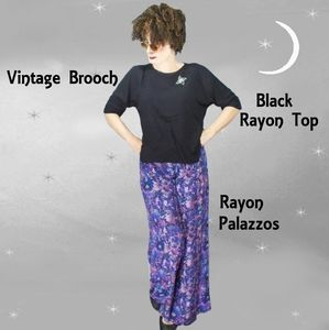 Vintage Palazzo Pants Outfit with Black Rayon Top